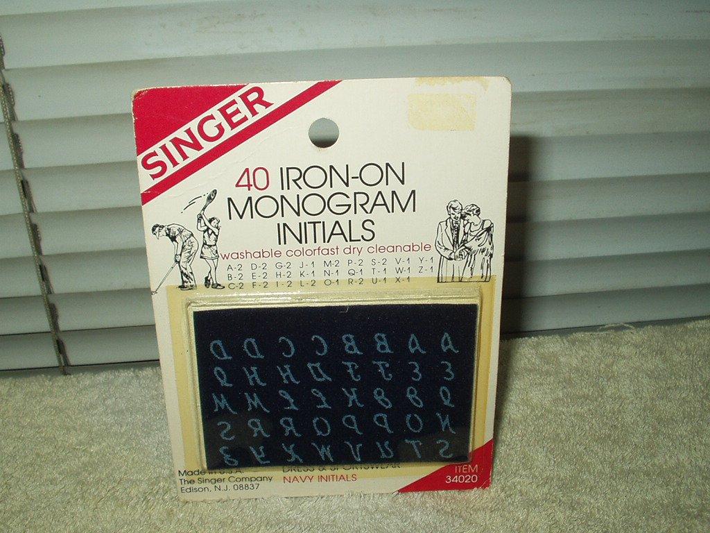 singer 40 iron-on transfer initials navy blue #34020