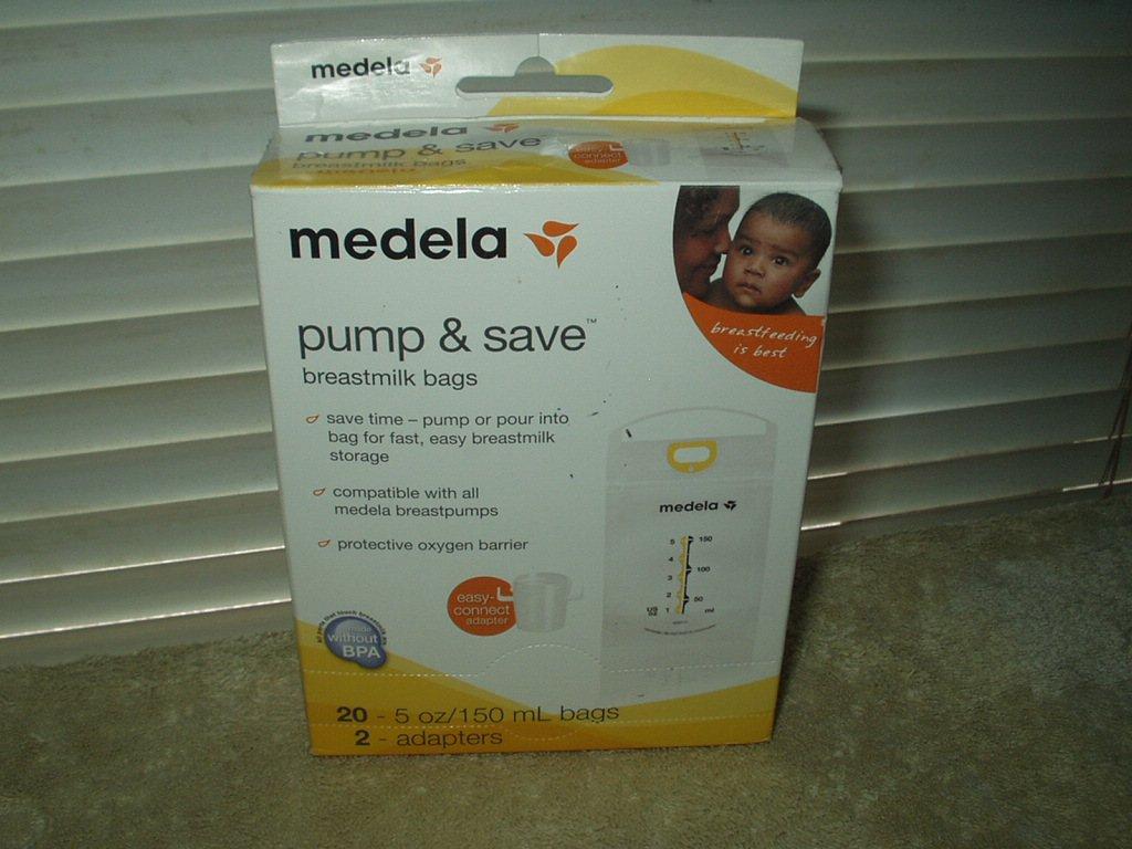 medela pump & save breastmilk bags 20 each & 2 adapters # 87233