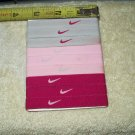 "nike ladies swoosh wristband anklebands set of 9 ea .4"" wide 3gray, 3pink, 3hot pink stretch to 5"""