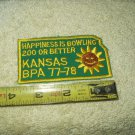 kansas sunflower bowling patch 1977-1978 happiness is 200 or better game