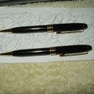 bellagio hotel casino las vegas nv set of 2 authentic pens black & gold working