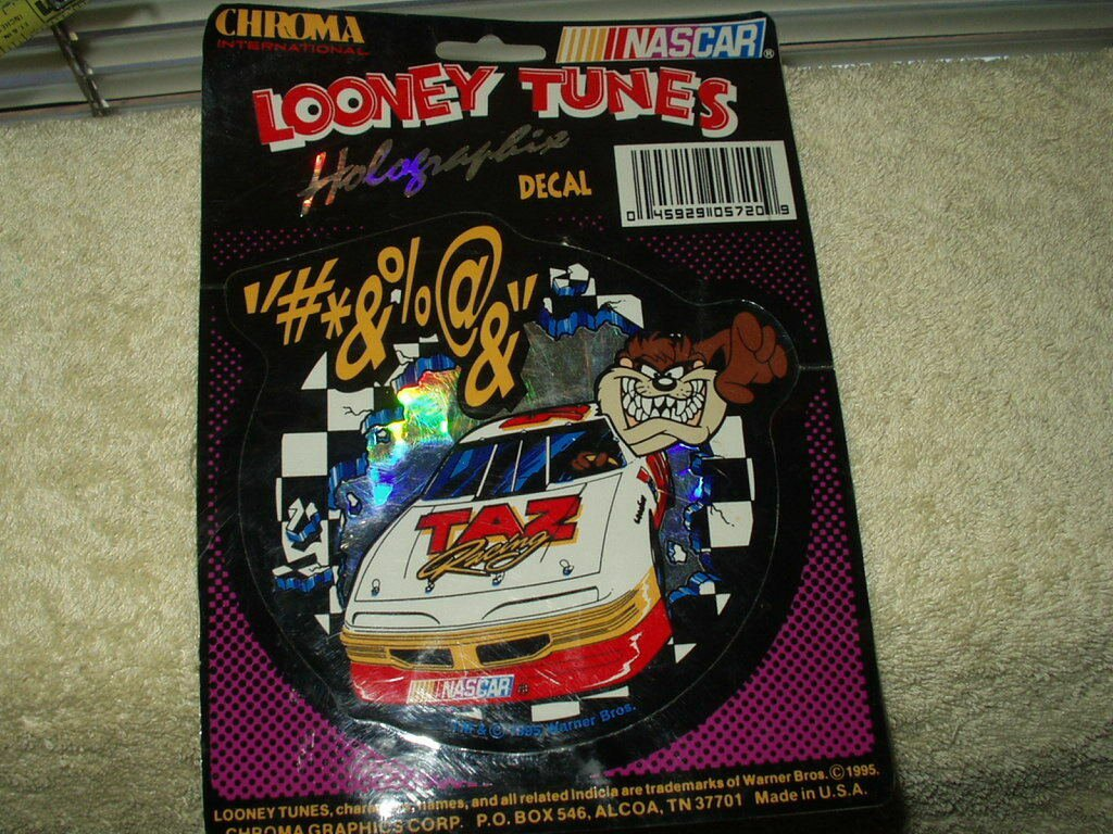"""vintage taz racing looney tunes nascar holographic 5"""" color decal from 1995"""