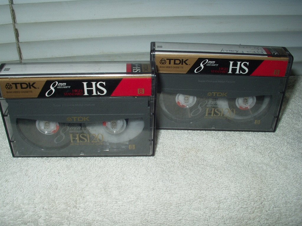 tdk hs120 8 mm video cassette tape lot of 2 metal particle high standard