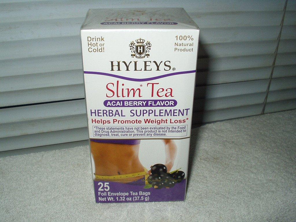 hyleys herbal slim tea acai berry flavor sealed box of 25 foil envelopes best b4 10/22