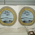 "seal of the bay city california police department 4"" round set of 2 full color"