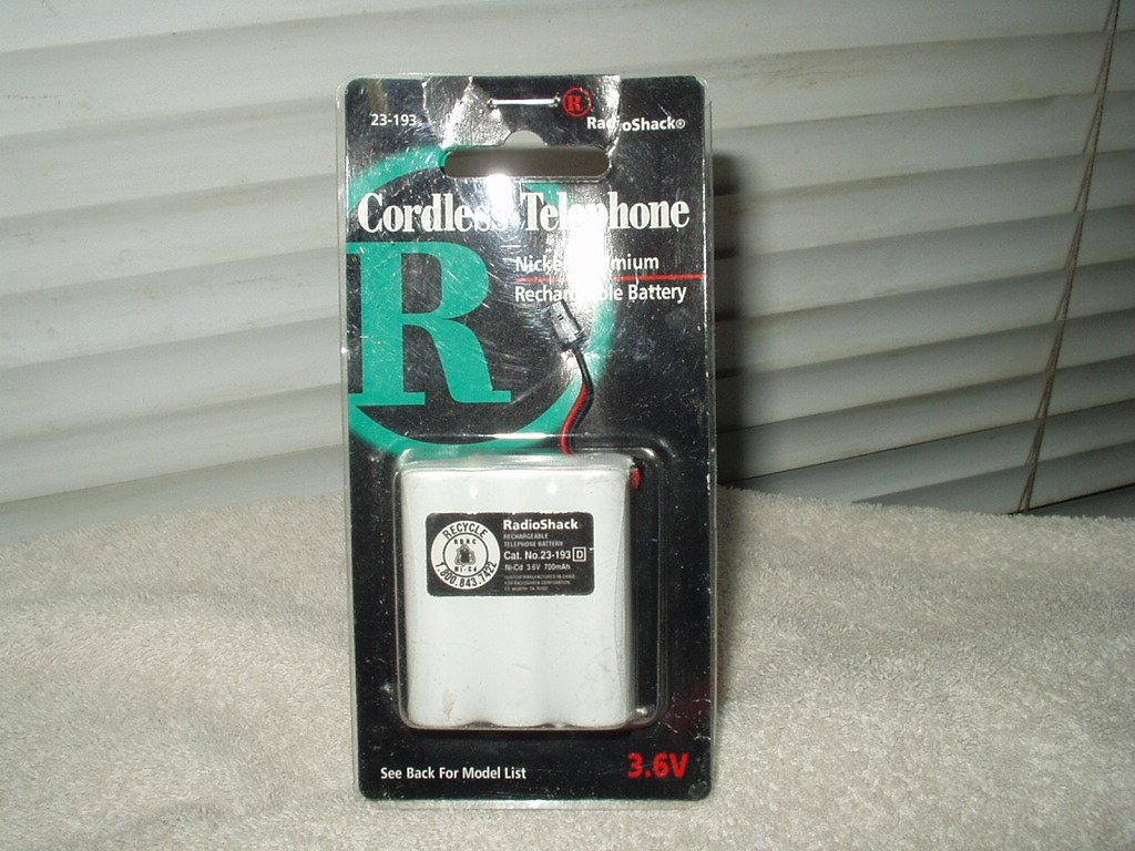 radio shack # 23-193 cordless telephone nickel cadmium rechargeable battery