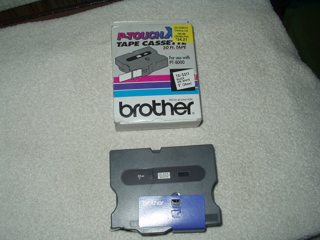 """oem brother p-touch tx-2511 black on white label tape 1"""" x 50' for pt-8000"""