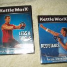 kettleworx kettle worx legs & thighs + resistance workout dvd's new sealed lot of 2
