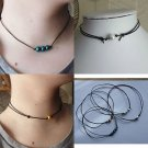 LEATHER cord PEARL bead CHOKER necklace rock chick style BLACK WHITE GOLD
