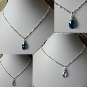 "Teardrop PENDANT necklace crystal glass SILVER PLATED 18"" blue pink teal Red"