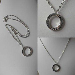 "infinity circle necklace pendant rhodium plated  love hope faith16-20"" unisex"