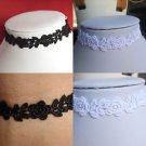 "rose FLOWER lace choker necklace BLACK OR WHITE 13"" floral BRIDAL GOTHIC"