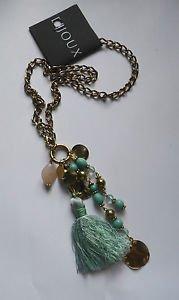 "Multi charm drop NECKLACE long line CHAIN bead tassel blue BOHO 22"" gold alloy"