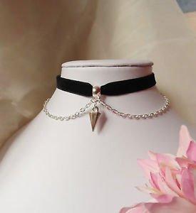"spike CHOKER necklace chain black velvet ribbon 13"" SPIKED charm silver GOTHIC"