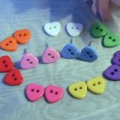 button earrings HEART silver plated pink red blue green acrylic 10mm NOVELTY