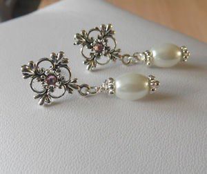 glass PEARL bead drop EARRINGS filigree VINTAGE design silver WHITE ornate