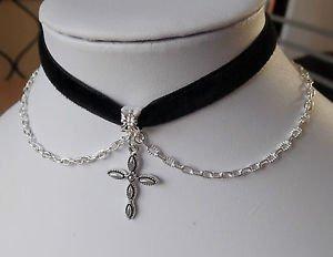 "Cross CHOKER necklace chain black velvet ribbon 13"" CROSS ICON CHARM silver"