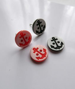NAUTICAL theme button STUD earrings ANCHOR silver plated 12mm black red ROUND