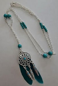 "DREAMCATCHER NECKLACE long CHAIN bead FEATHER blue 35"" pendant HOWLITE charm"