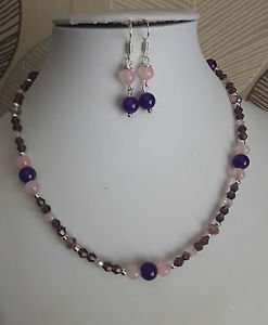 "amethyst and rose quartz glass bead necklace set earrings chain 16"" purple pink"