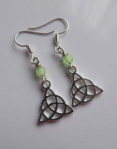 Celtic knot symbol drop earrings SILVER  green beaded hooks 25mm LUCKY