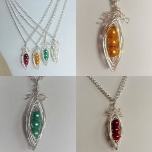 pea-pod pendant necklace pearl silver plated wire pea glass bead chain charm