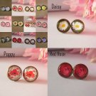 Bronze Glass Domed flower Earrings studs 12mm daisy poppy rose floral womens