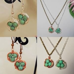 birds NEST pendant NECKLACE SET earrings SILVER BRONZE howlite TURQUOISE chain