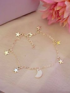 stars moon anklet chain charms silver plated 9.5 inches mother of pearl alloy