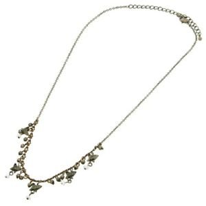 "BUTTERFLY bead CHARM necklace chain VINTAGE design womens SILVER bronze 15""-18"""