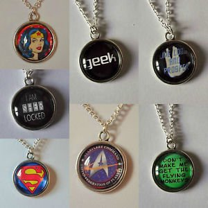 PENDANT necklace chain FANDOM based ROUND glass silver plated superhero quote