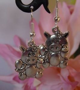 Cute tibetan silver PIG charm earrings,silver plated hooks,20mm