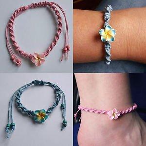 Fimo Flower BRACELET/ANKLET adjustable PINK/BLUE cord SPIRAL beach BOHO floral