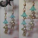 Cute Teddy charm earrings with blue glass flower drop kitsch silver plated hooks