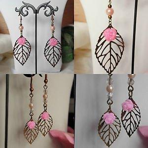 LEAF drop EARRINGS bronze pink bead FLOWER hooks FILIGREE dangle feminine