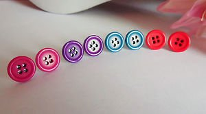 button STUD  earrings four hole RETRO silver plated 11mm pink blue red ROUND