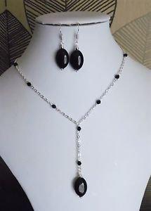 "Black Bead OVAL drop pendant necklace SET chain GLASS stone 18"" earrings"