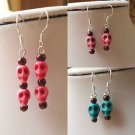SKULL earrings HOWLITE floating HEADS blue pink BEAD halloween OCCULT kitsch