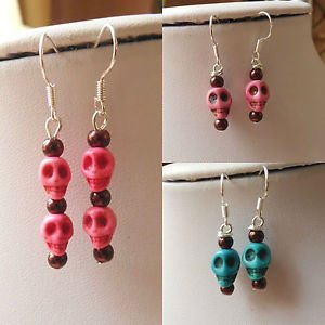 SKULL earrings HOWLITE floating HEADS blue pink BEAD halloween OCCULT kitsch