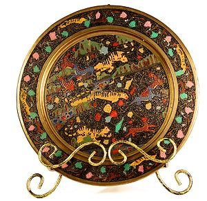 ANTIQUE INDIA BRASS CLOISONNE TIGERS AND DEERS WALL HANGING PLATE