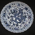 CHINESE BIG BLUE & WHITE PORCELAIN DRAGON FIVE CLAWS PLATE