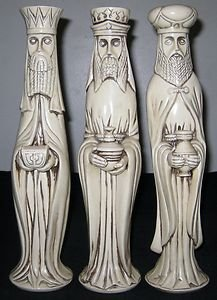 Christmas Figurines Three Wise Men 13 Inches Tall Ceramic Gothic Style Very Rare