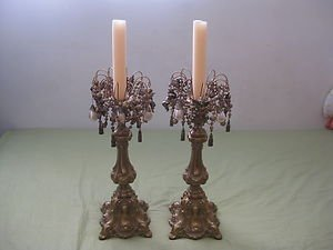 ANTIQUE PAIR FRENCH BRONZE CANDLESTICK HOLDER