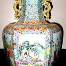 VINTAGE CHINESE PORCELAIN SIX SIDES VASE WITH YONGZHENG MARK