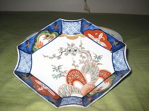 ANTIQUE JAPANESE OCTAGON PORCELAIN  PLATE VERY RARE