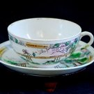 "ANTIQUE PORCELAIN CUP&SAUCER, DOUBLE ""T"" IN DIAMOND, MA/IN JAPAN, HAND PAINTED"