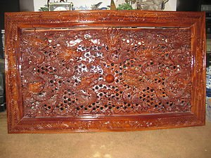 COLLECTIBLE HAND CARVED CHINESE WOODEN PICTURE NINE DRAGONS AND PEARL