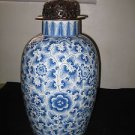ANTIQUE CHINESE PORCELAIN LARGE BLUE AND WHITE VASE WITH SOLID BRONZE LID