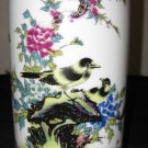 Vintage Chinese Porcelain Gilt Gold Famille Rose Birds &Flower Vase; Qing Period