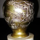 ANTIQUE CHINESE HAND CARVED GILT SILVER DRAGON  BRASS VASE WITH MABLE BASE.